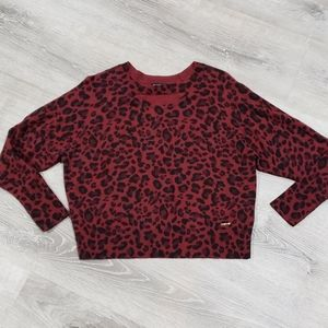 Bebe Red Leopard Print Sweater
